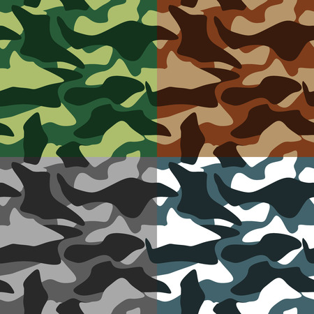 brown clothes: Army camouflage in different colors icons set flat isolated vector illustration Illustration
