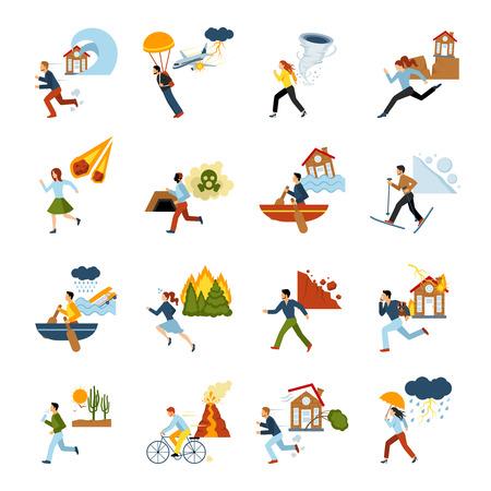 землетрясение: Человек побег из различных видов стихийных бедствий плоским цветные изображения установлен изолированный векторные иллюстрации Иллюстрация