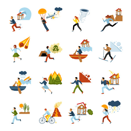 doom: Human escape from different types of natural disasters flat color images set isolated vector illustration Illustration