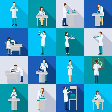 piso: Iconos planos persona Científico establecidos con la gente en la química del laboratorio aislado ilustración vectorial