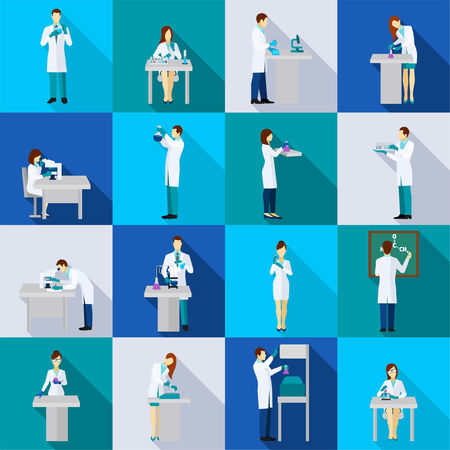 scientist man: Scientist person flat icons set with people in chemistry lab isolated vector illustration