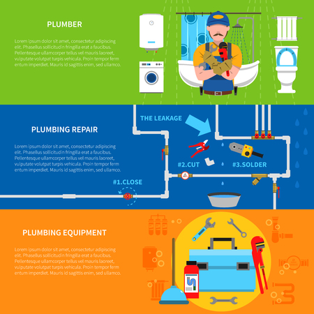 siphon: Plumbing horizontal banners set with plumber plumbing repair and equipment symbols flat isolated vector illustration