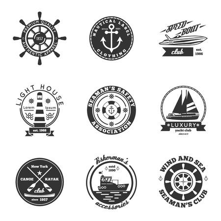 timon barco: Náuticos etiquetas blancas negras establecidos con yate lancha rápida y piragüismo clubes aislados plana ilustración vectorial