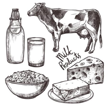boceto: Los productos l�cteos Sketch establecidos con la vaca y queso aislados ilustraci�n vectorial