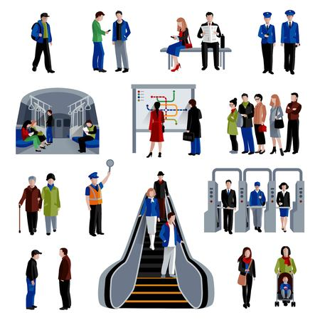 Subway rapid transit trains system flat icons set with passengers on platform flat  abstract isolated vector illustration