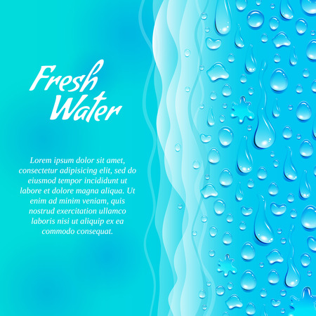 informative: Fresh clean natural water consumption healthy lifestyle promotion decorative informative ecological banner ocean blue abstract vector illustration