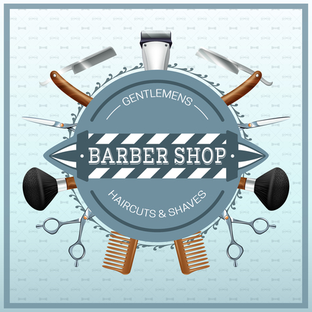shop: Barber shop label with hairdresser accessories razors scissors combs realistic color concept vector illustration
