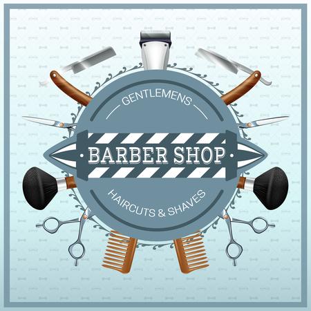 barbero: Etiqueta Barber�a con accesorios de peluquer�a maquinillas de afeitar tijeras peina colores realistas concepto de ilustraci�n vectorial Vectores