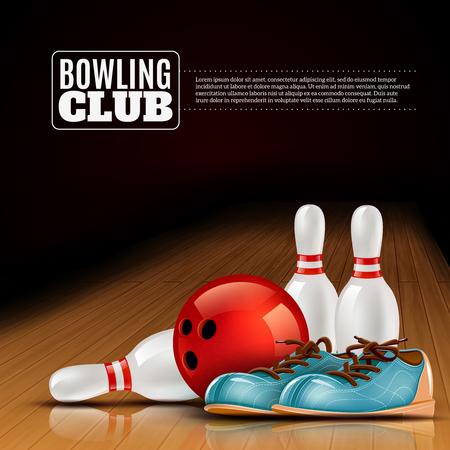 bolos: Club de bolos cubierta de carteles para los miembros y visitantes con zapatos de bola y los pernos realista colorida ilustraci�n vectorial Vectores
