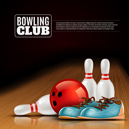 bowling strike: Indoor bowls club poster for members and visitors with shoes ball and pins realistic colorful vector illustration