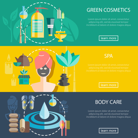 hair mask: Spa and wellness horizontal banners set with cosmetics and body care flat isolated vector illustration Illustration
