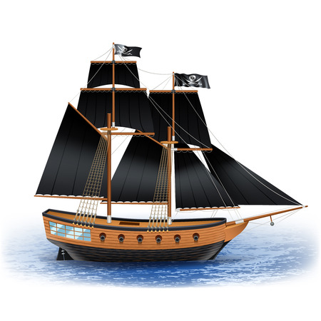 ships: Wooden pirate ship with black sails and Jolly Roger flag at sea realistic vector illustration