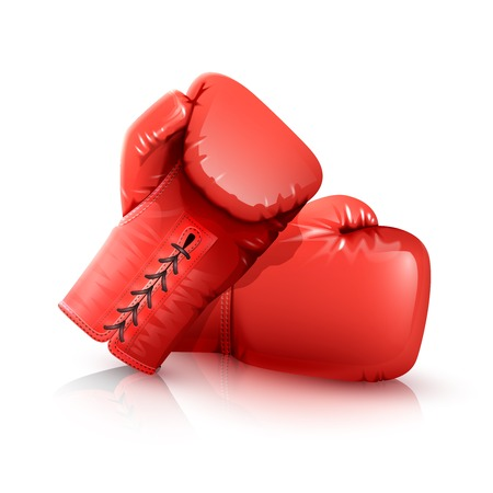 Two realistic red leather boxing gloves isolated on white backgrouns vector illustration Stock Illustratie