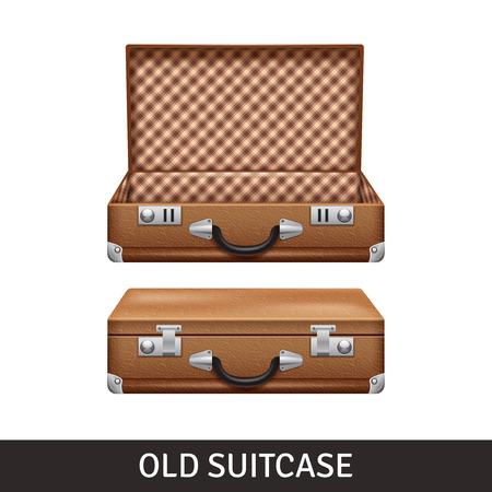 valigia: Old brown aperto e chiuso valigia design realistico isolato illustrazione vettoriale