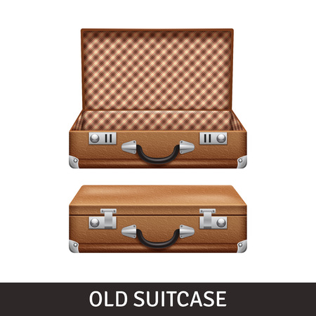 travel suitcase: Old brown opened and closed suitcase realistic design isolated vector illustration