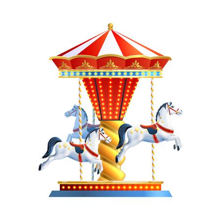 白い背景ベクトル図に分離された 3 色の馬と現実的なレトロなカルーセル