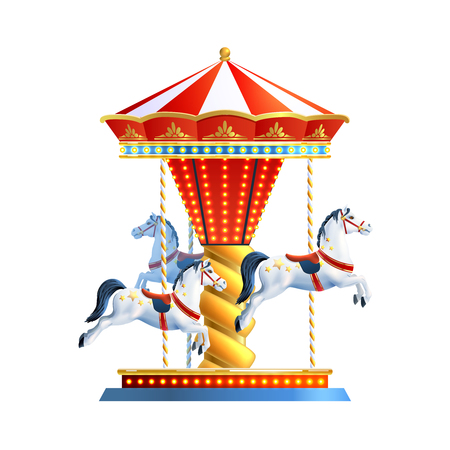 carnival ride: Realistic retro carousel with three colored horses isolated on white background vector illustration