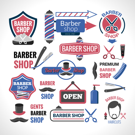 Barber shop symbols labels collection and signs with modern haircut and hair styling  abstract isolated vector illustration