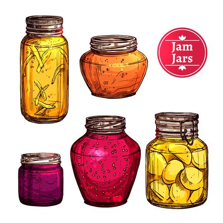 glass jars: Colored hand drawn jam glass jars set isolated vector illustration
