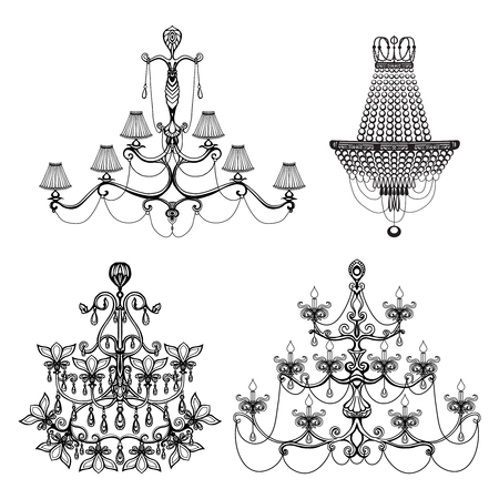 crystal chandelier: Decorative elegant luxury crystal chandelier icons set isolated vector illustration