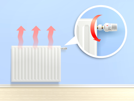 temperature: Realistic heating radiator with temperature knob in zoom vector illustration