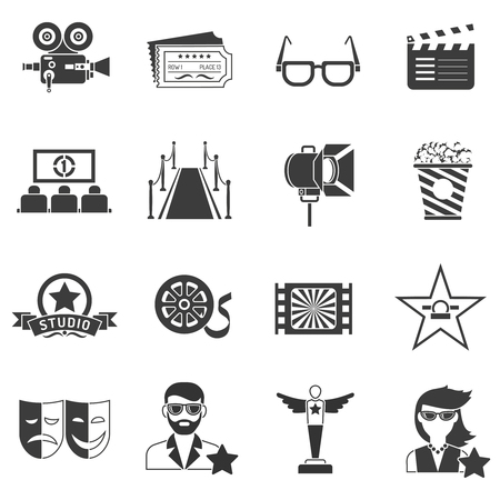 users video: Movie icons black set with actor filmstrip and award isolated vector illustration