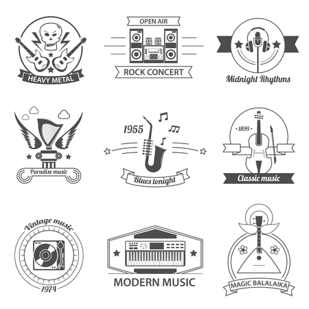 air guitar: Black and white music styles labels with classic rock metal blues balalaika isolated vector illustration Illustration