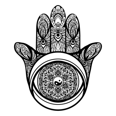 mysticism: Muslim religious hamsa hand symbol with ornaments sketch vector illustration