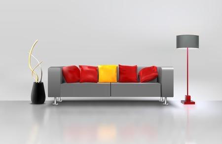 lampada: Modern living minimalista sala interna con lampada divano realistica e vaso illustrazione vettoriale Vettoriali