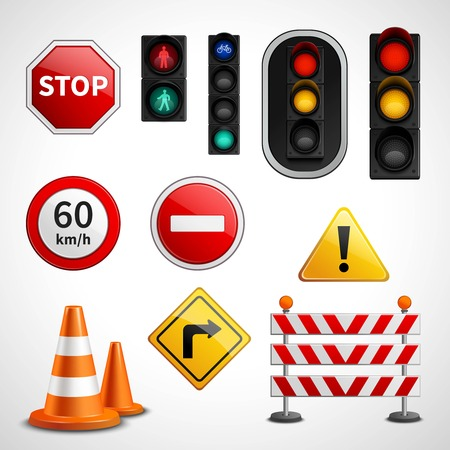 stoplights: Road traffic flow regulatory signs and stoplights colorful glossy pictograms collection educative banner realistic vector isolated illustration