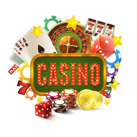 ruleta de casino: Marco de Casino con el juego realista y juego de iconos fortuna establece ilustración vectorial Vectores