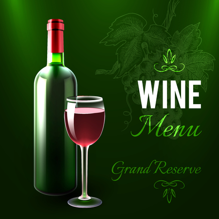 vino: Plantilla de menú de vino con botella de vino tinto y el vidrio realista ilustración vectorial Vectores