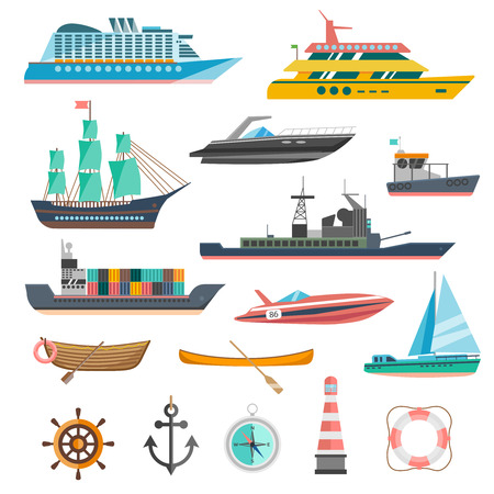 Ships yachts and boats icons set with navigation symbols flat isolated vector illustration Çizim