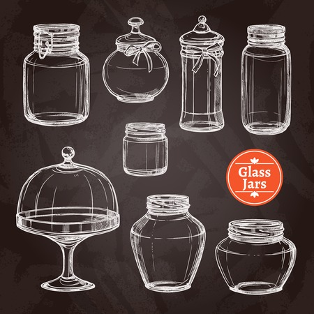 Grote glazen pot te stellen met de hand getekend op geïsoleerde schoolbord vector illustratie