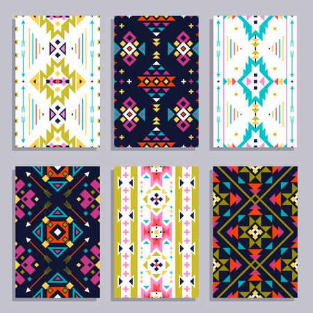 tribales: Banner vertical geométrica étnico establecido con patrones tribales sin fisuras aisladas ilustración vectorial