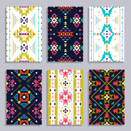 Ethnic geometric vertical banner set with seamless tribal patterns isolated vector illustration Illustration