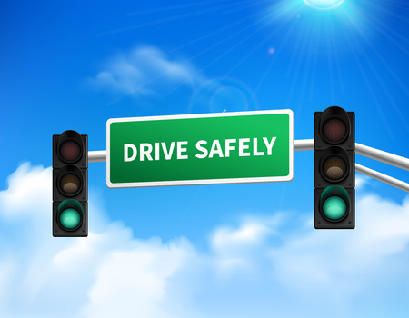 safely: Drive safely memorial marker road sign for highway safety awareness against blue sky design abstract vector illustration