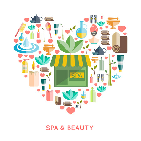 health and wellness: Spa and beauty concept in a heart shape with cosmetics and wellness symbols flat vector illustration Illustration