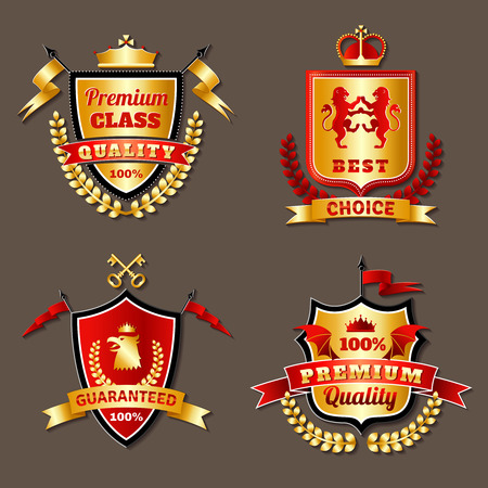 Heraldic premium class realistic emblems set with shields isolated vector illustration