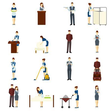 maid: Iconos planos del personal del hotel que figuran con personajes de limpieza y camarero aislado ilustración vectorial
