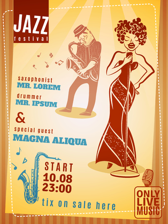 jazz time: Jazz music festival date and time announcement vintage poster with popular saxophonist and drummer abstract vector illustration