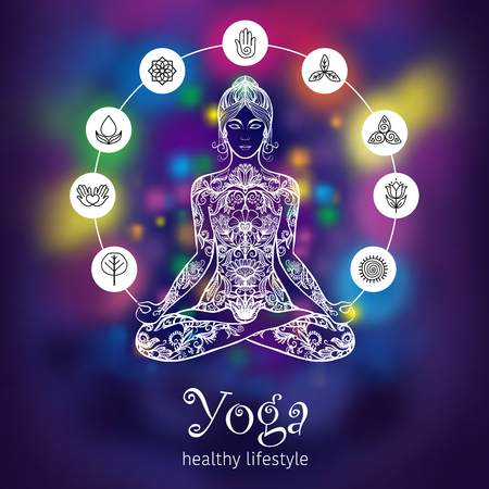 Meditating in crossed-legged yoga lotus pose woman with 7 chakras symbols poster colorful background abstract vector illustration