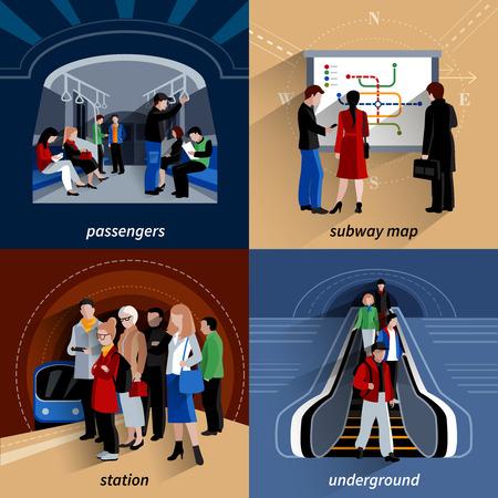 plataforma: Estación de metro y metro líneas mapa esquemático 4 iconos planos cuadrados banner abstracto ilustración vectorial