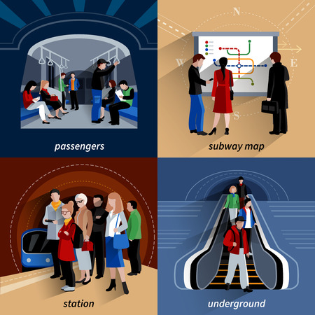 Underground train station and subway lines schematic map 4 flat icons square banner abstract isolated vector illustration
