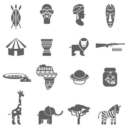 baobab: African natural wild life  and culture black icons set with pottery face masks abstract isolated vector illustration