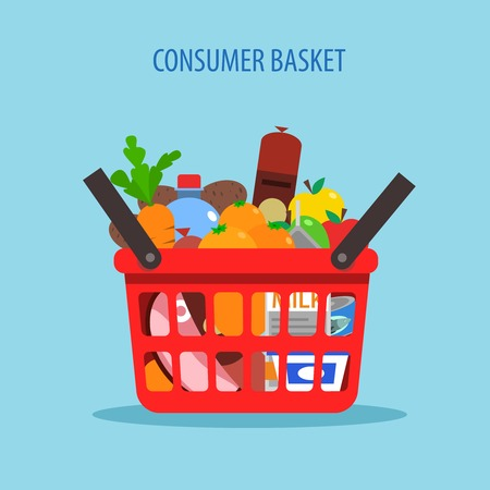 foodstuff: Red plastic shopping basket full of foodstuff concept flat vector illustration