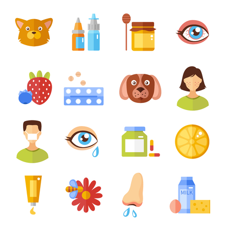Various allergy types and causes flat style icons isolated vector illustration Vettoriali