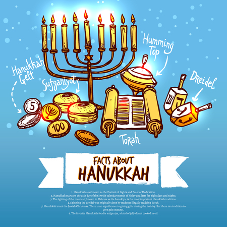 channukah: Hanukkah infographics set with traditional religious holiday symbols vector illustration