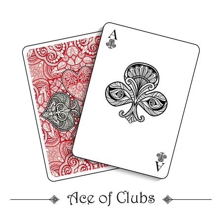 cartas poker: Jugando a las cartas concepto con el as de juego de los clubs y de regreso ilustración vectorial Vectores
