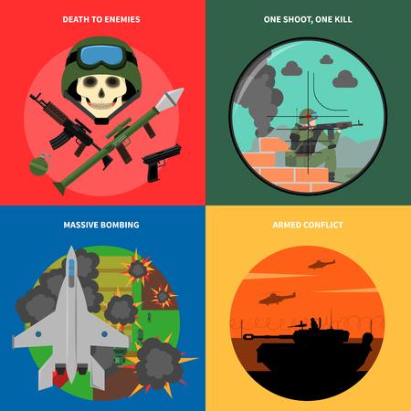 conflictos sociales: Iconos del concepto Guerra establecen con la muerte a los enemigos de bombardeo masivo y símbolos de conflicto armado aislado plana ilustración vectorial Vectores
